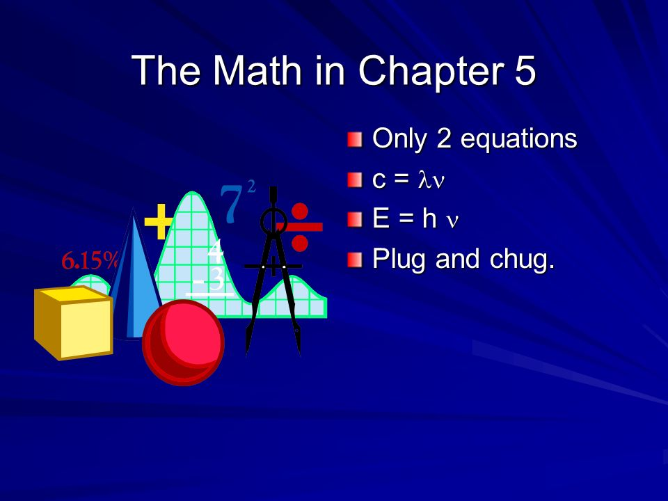 The Math in Chapter 5 Only 2 equations c = ln E = h n Plug and chug.