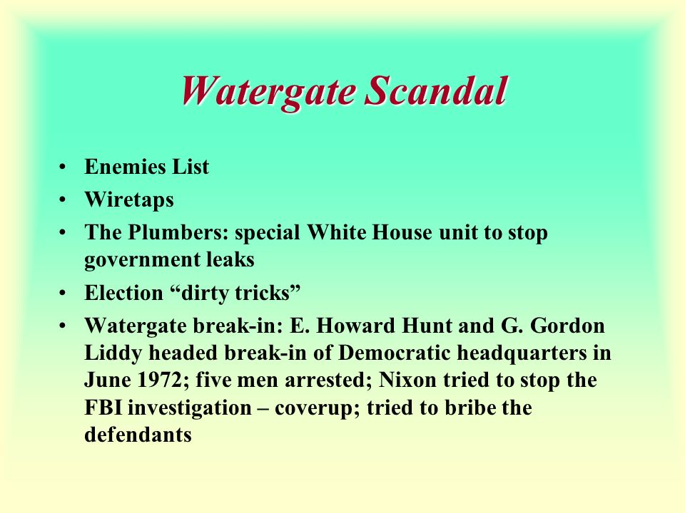 Watergate Scandal Enemies List Wiretaps