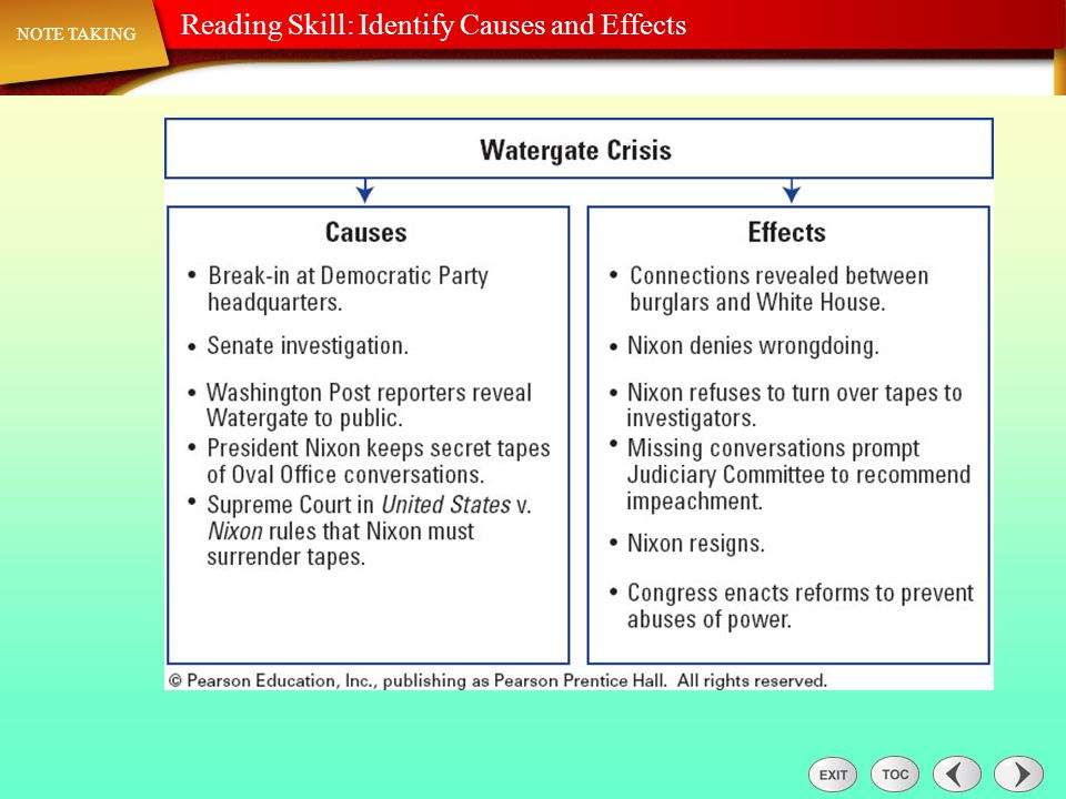 Note Taking: Reading Skill: Identify Causes and Effects