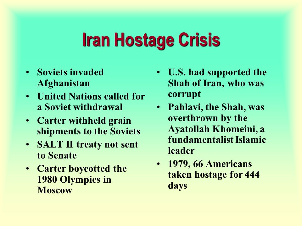 Iran Hostage Crisis Soviets invaded Afghanistan