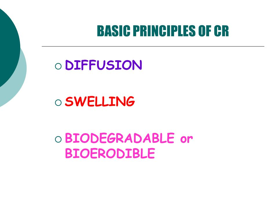 BASIC PRINCIPLES OF CR DIFFUSION SWELLING BIODEGRADABLE or BIOERODIBLE