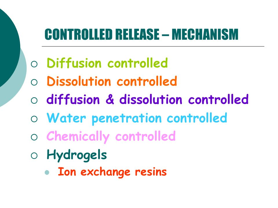 CONTROLLED RELEASE – MECHANISM