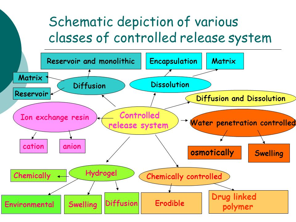 Schematic depiction of various classes of controlled release system