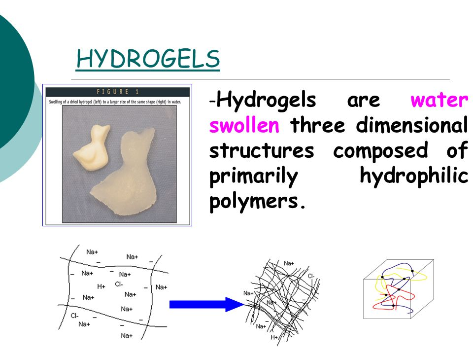 HYDROGELS Hydrogels are water swollen three dimensional structures composed of primarily hydrophilic polymers.