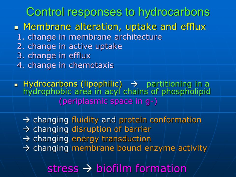 Control responses to hydrocarbons