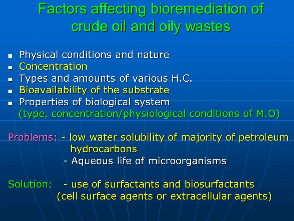 Factors affecting bioremediation of crude oil and oily wastes