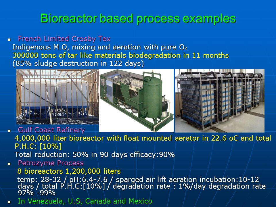 Bioreactor based process examples