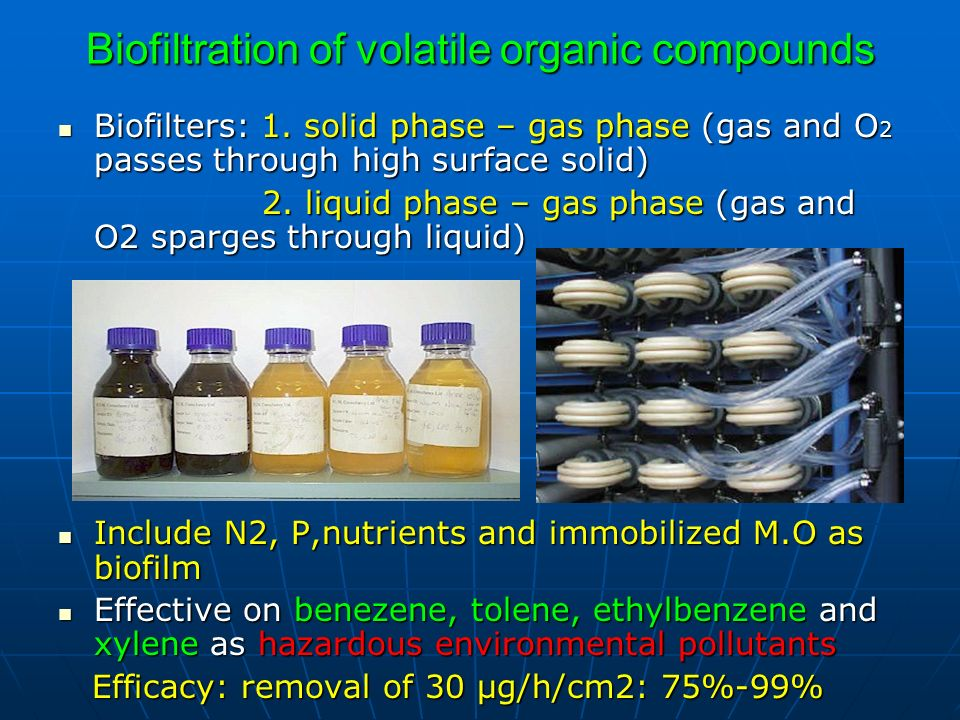 Biofiltration of volatile organic compounds