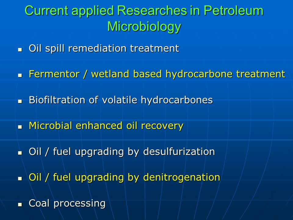 Current applied Researches in Petroleum Microbiology