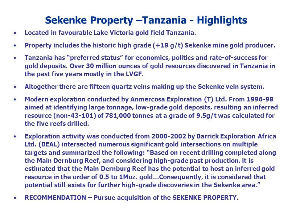 Sekenke Property –Tanzania - Highlights