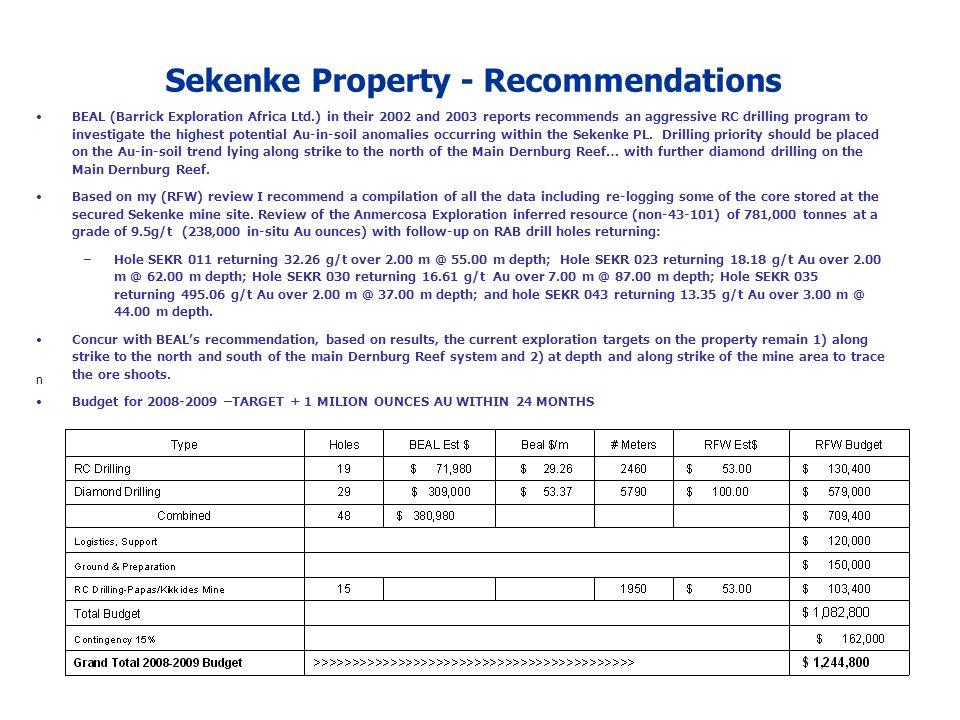 Sekenke Property - Recommendations