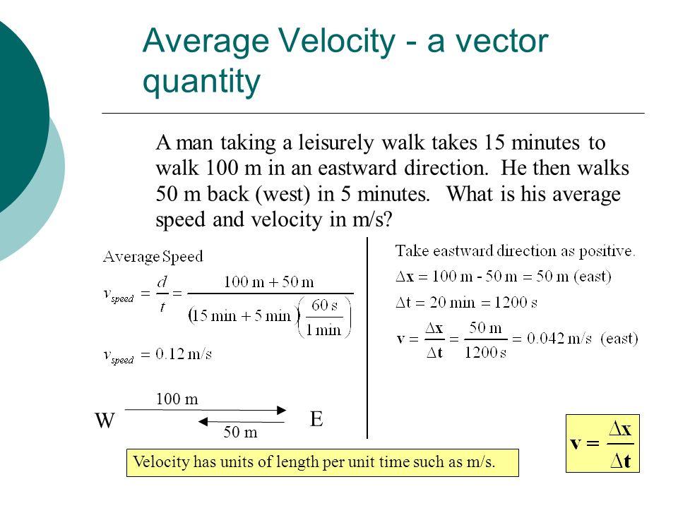 Average Velocity - a vector quantity