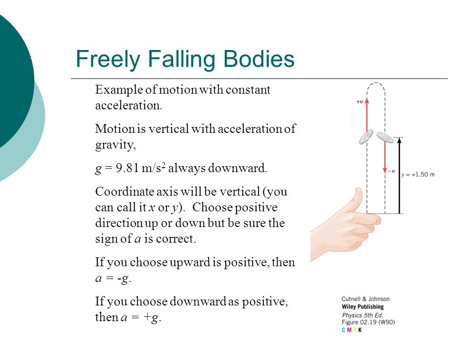 Freely Falling Bodies Example of motion with constant acceleration.