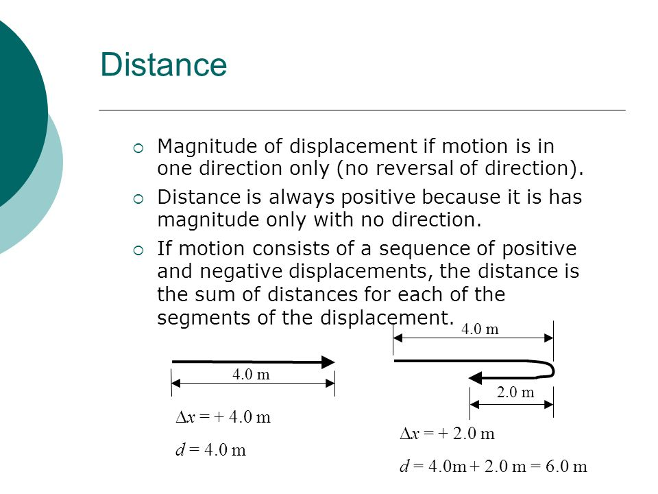 Distance Magnitude of displacement if motion is in one direction only (no reversal of direction).