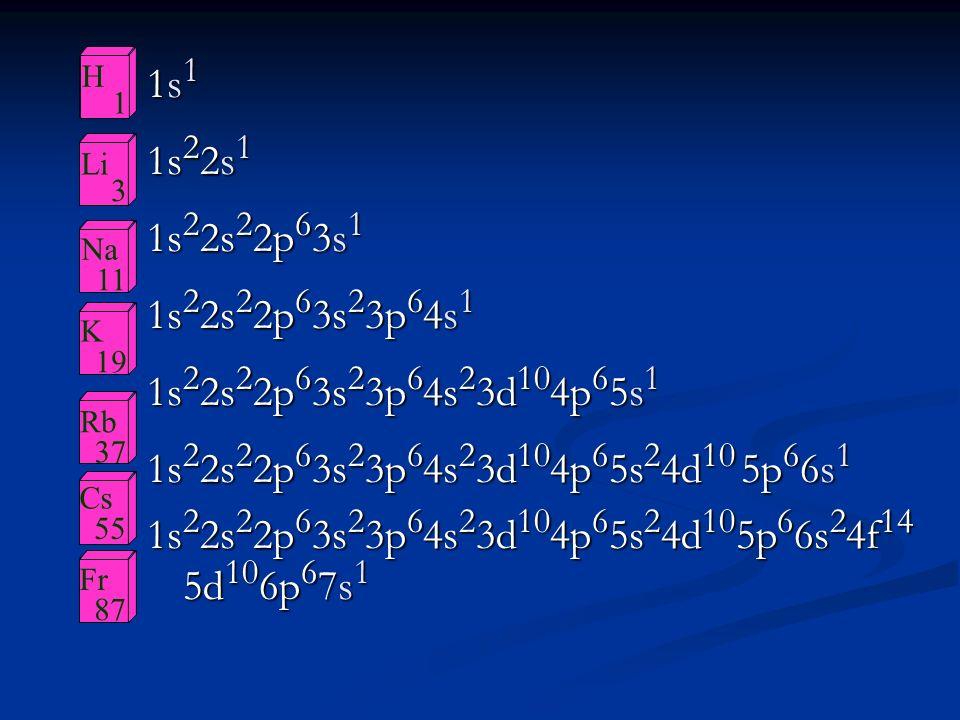 H 1. Li. 3. Na. 11. K. 19. Rb. 37. Cs. 55. Fr. 87. 1s1. 1s22s1. 1s22s22p63s1. 1s22s22p63s23p64s1.