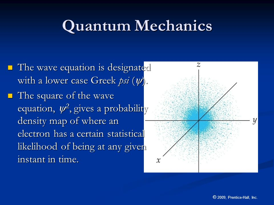 Quantum MechanicsThe wave equation is designated with a lower case Greek psi ().