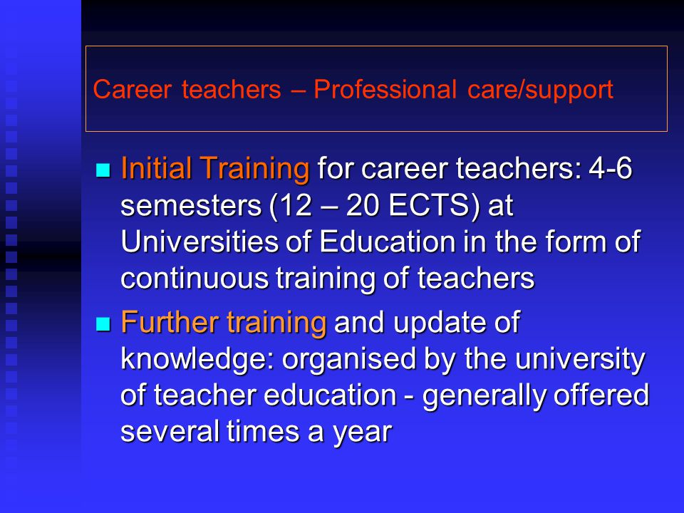 Career teachers – Professional care/support