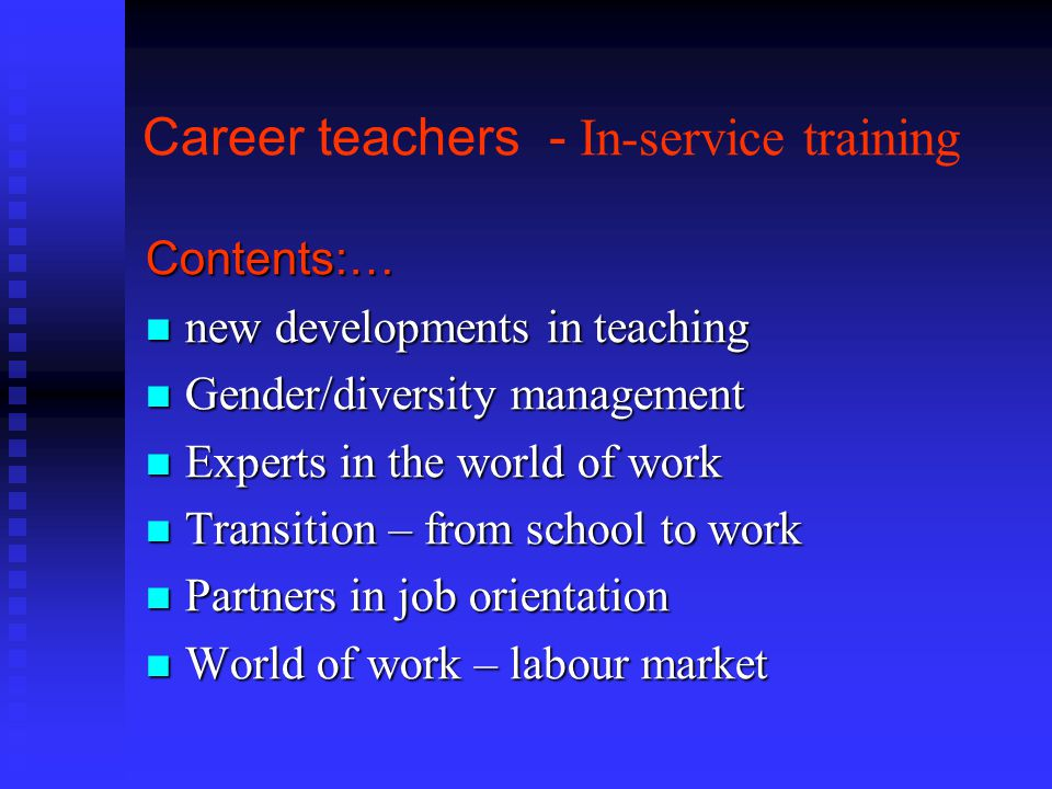 Career teachers - In-service training
