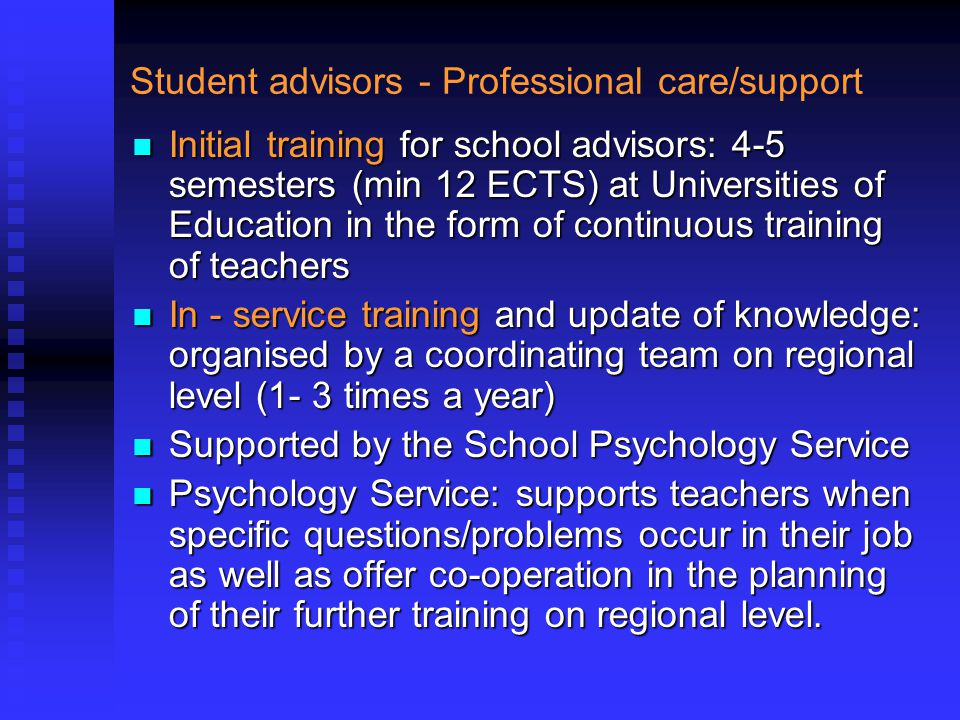 Student advisors - Professional care/support