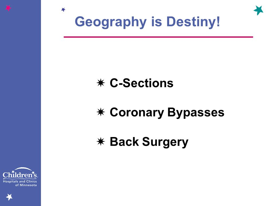 Geography is Destiny!  C-Sections  Coronary Bypasses  Back Surgery