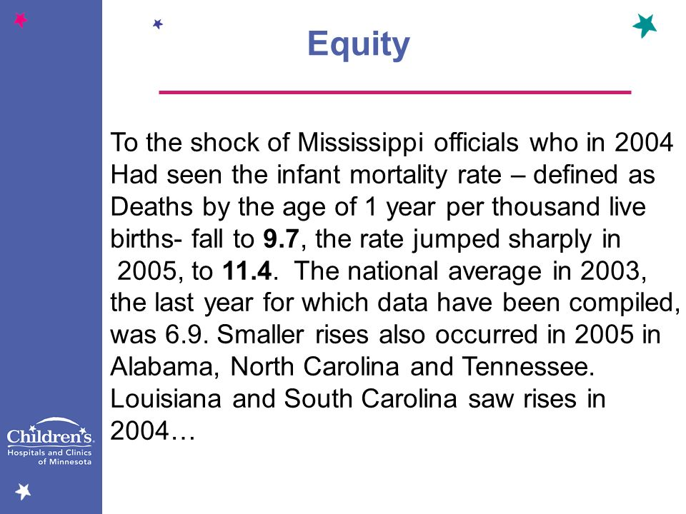Equity To the shock of Mississippi officials who in 2004