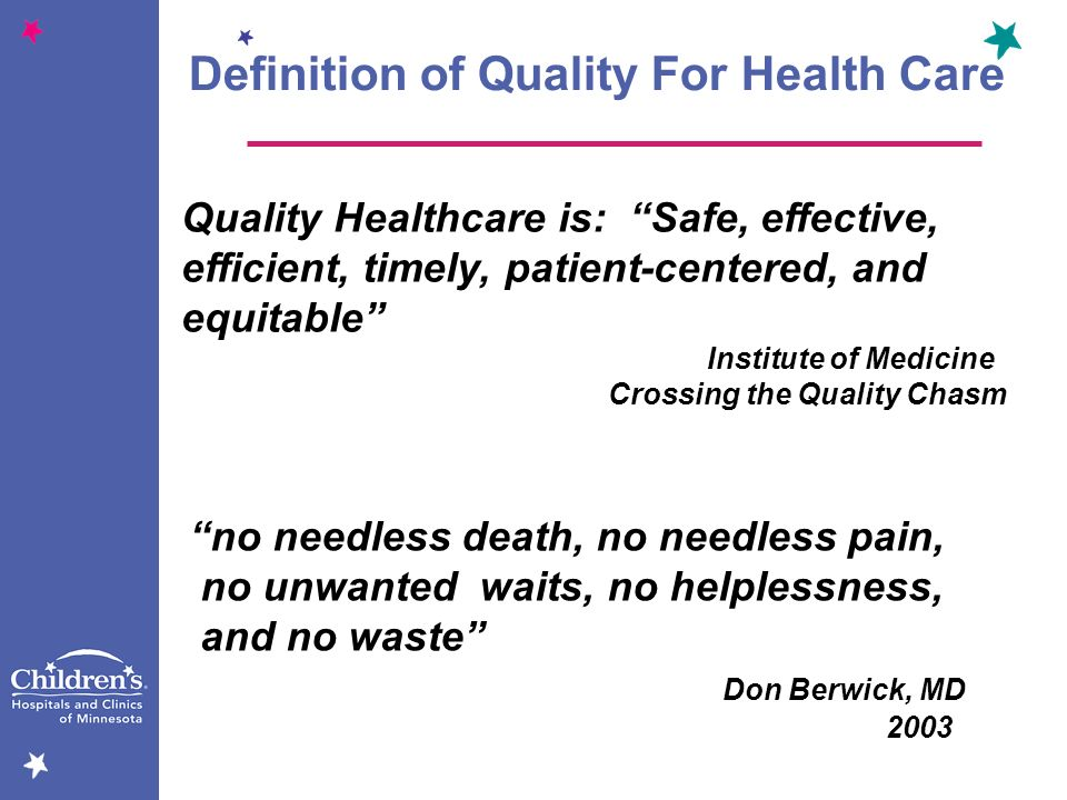 Definition of Quality For Health Care
