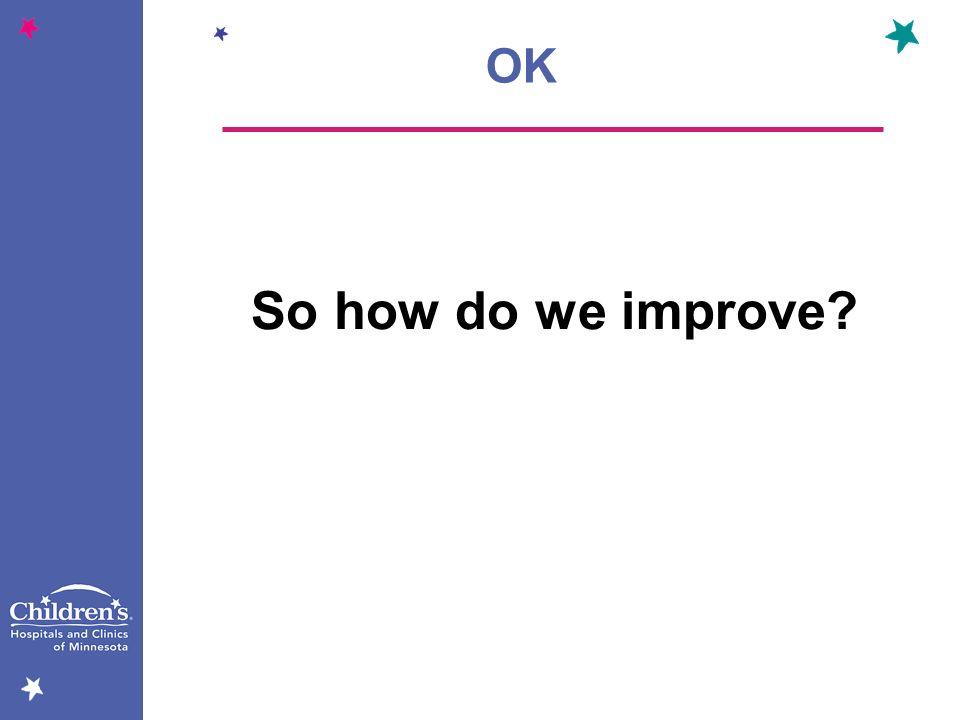 OK So how do we improve
