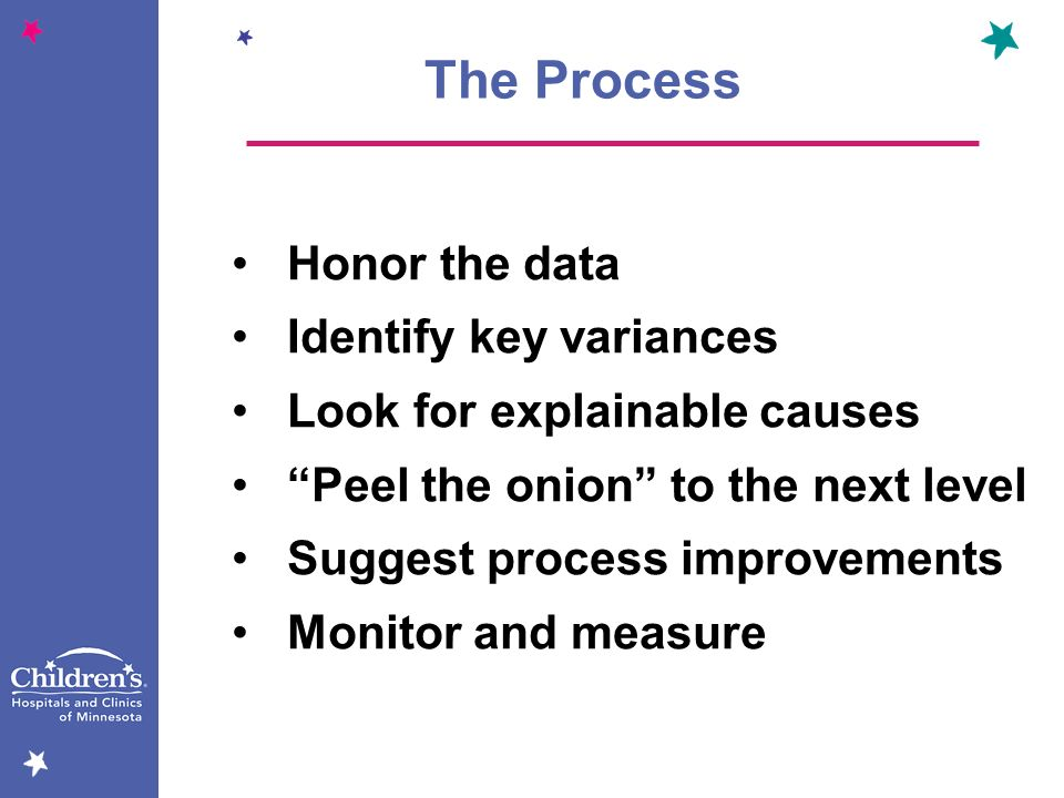 The Process Honor the data Identify key variances