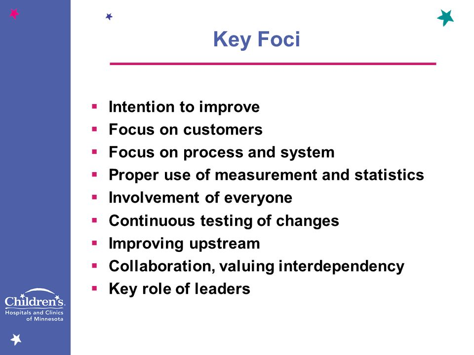 Key Foci Intention to improve Focus on customers