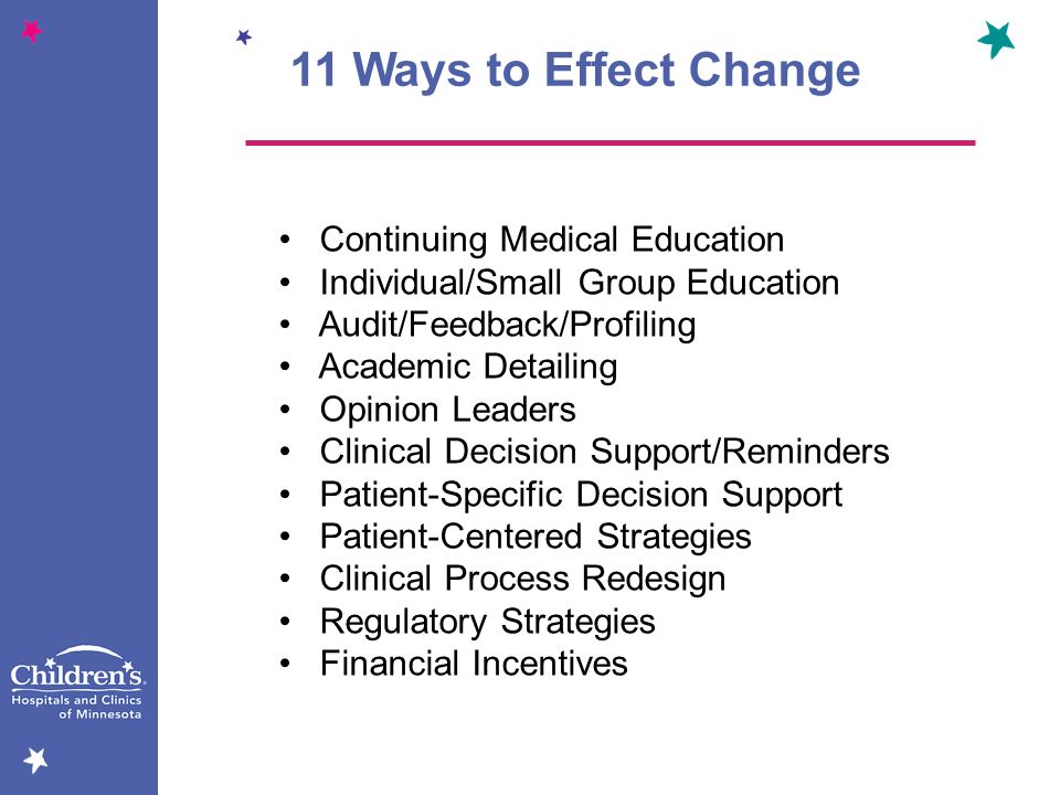11 Ways to Effect Change Continuing Medical Education