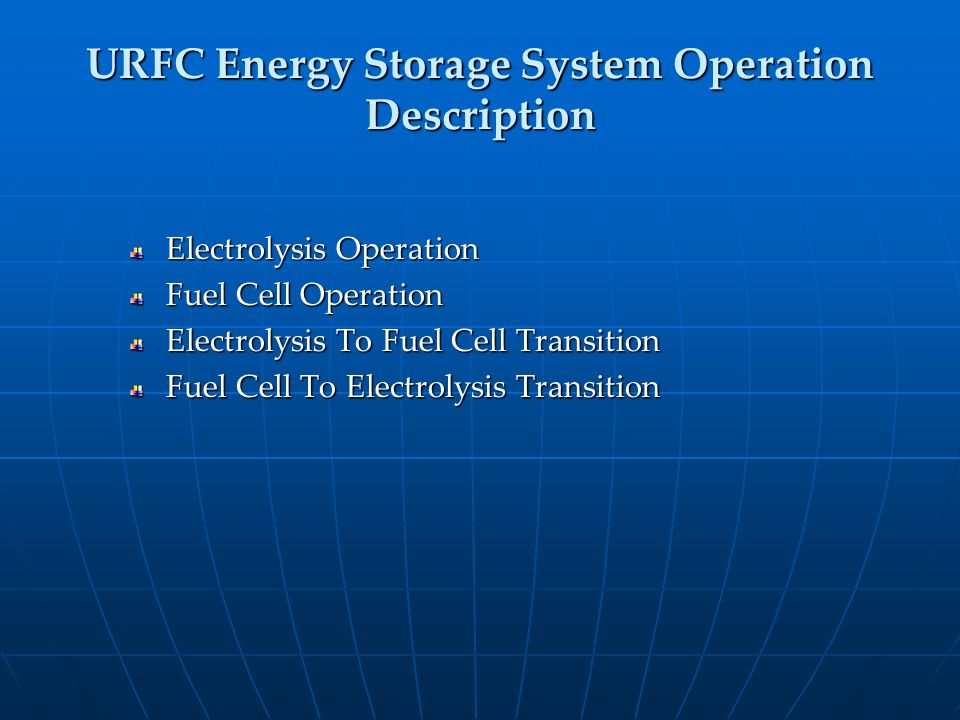 URFC Energy Storage System Operation Description