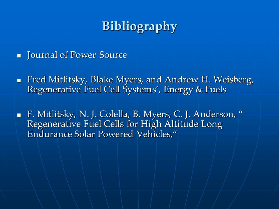 Bibliography Journal of Power Source