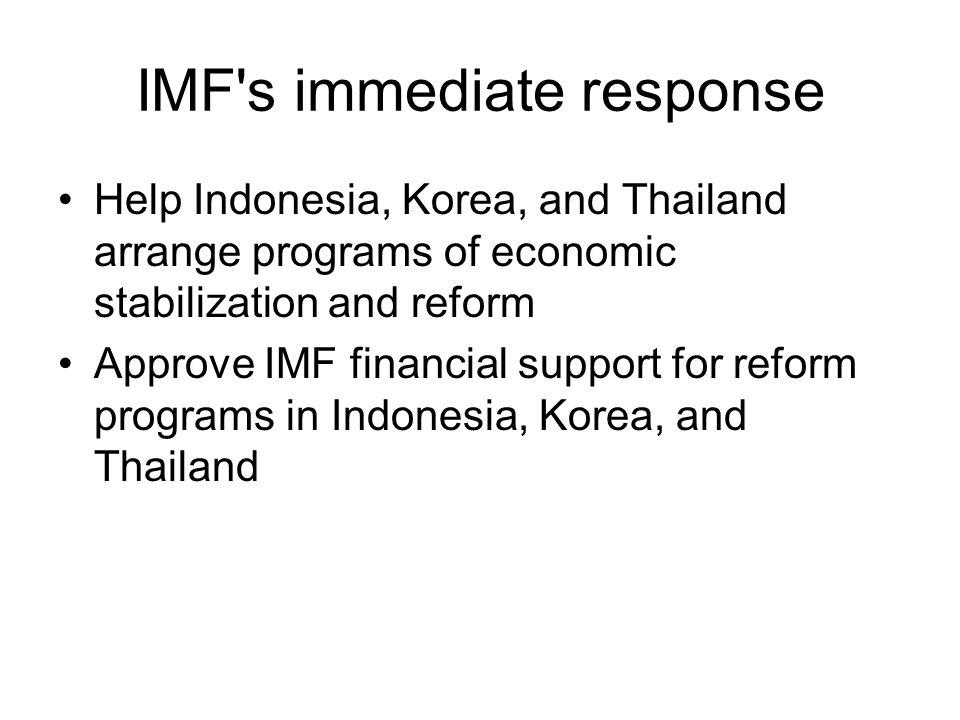 IMF s immediate response