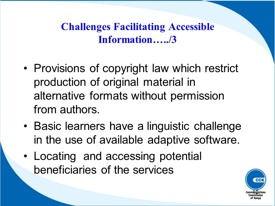 Challenges Facilitating Accessible Information…../3