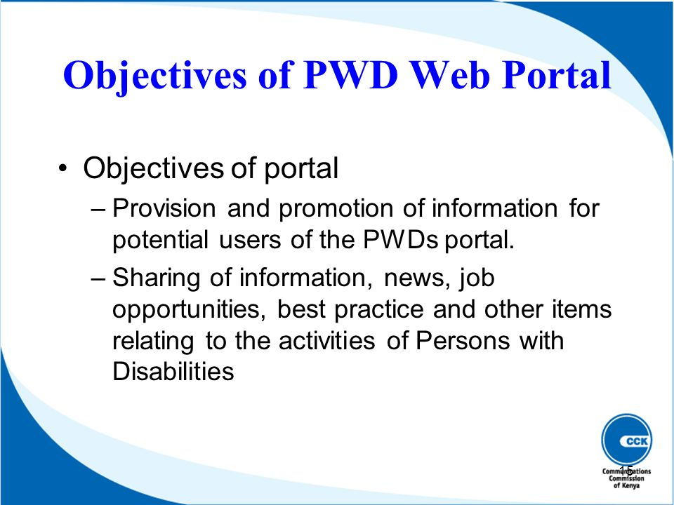 Objectives of PWD Web Portal