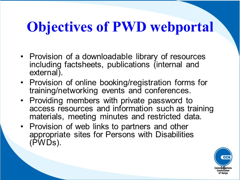 Objectives of PWD webportal