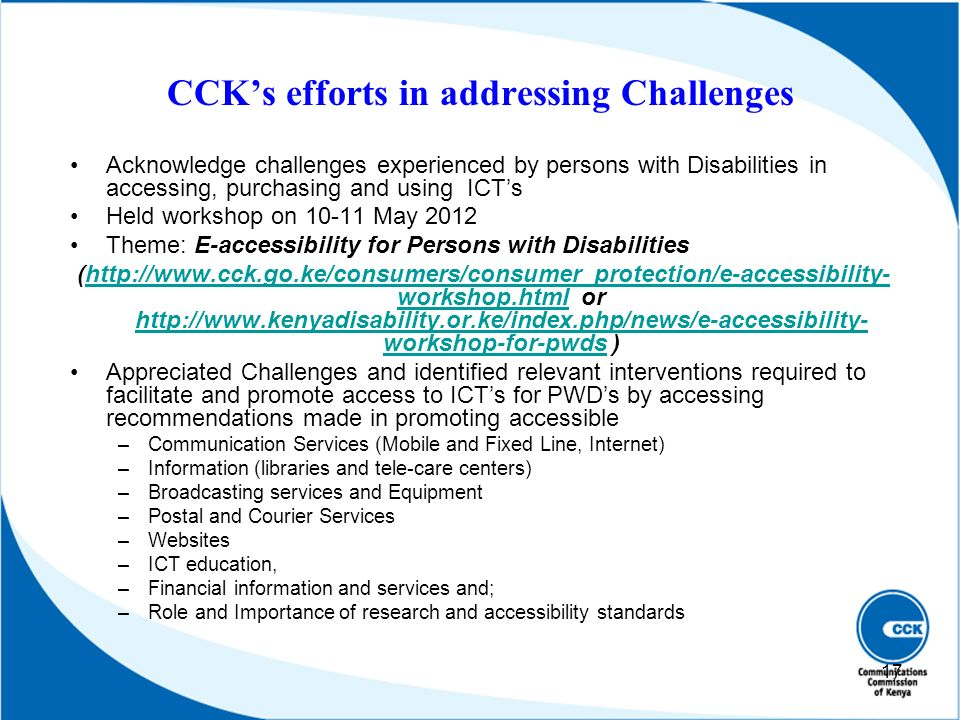 CCK's efforts in addressing Challenges