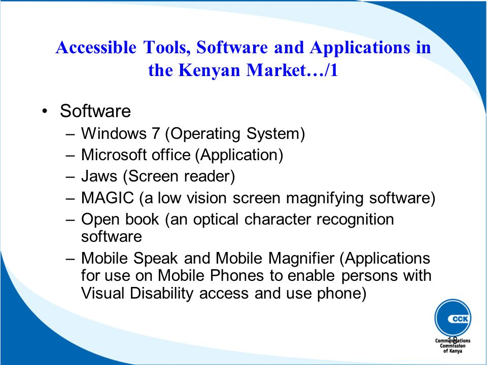 Accessible Tools, Software and Applications in the Kenyan Market…/1