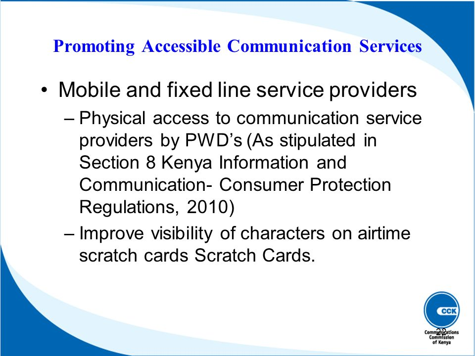 Promoting Accessible Communication Services