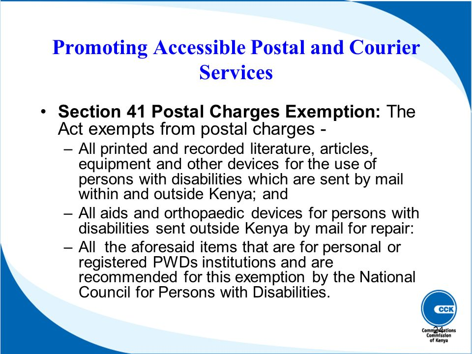 Promoting Accessible Postal and Courier Services