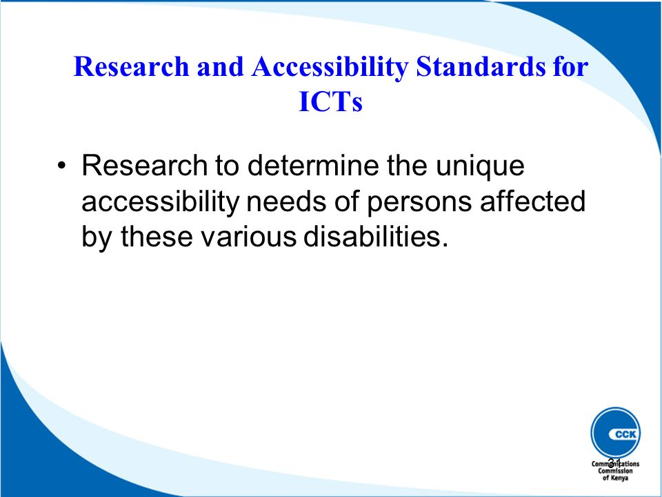 Research and Accessibility Standards for ICTs