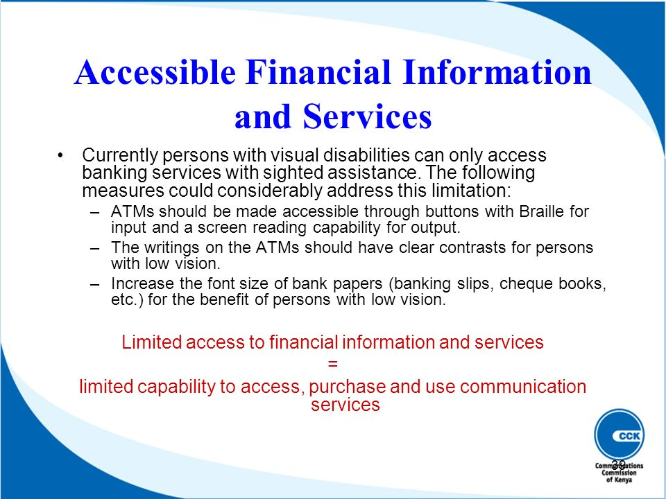 Accessible Financial Information and Services