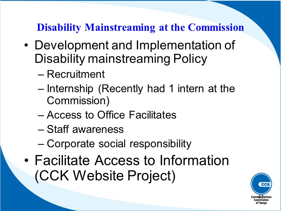 Disability Mainstreaming at the Commission