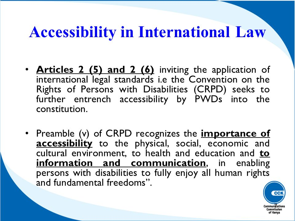 Accessibility in International Law