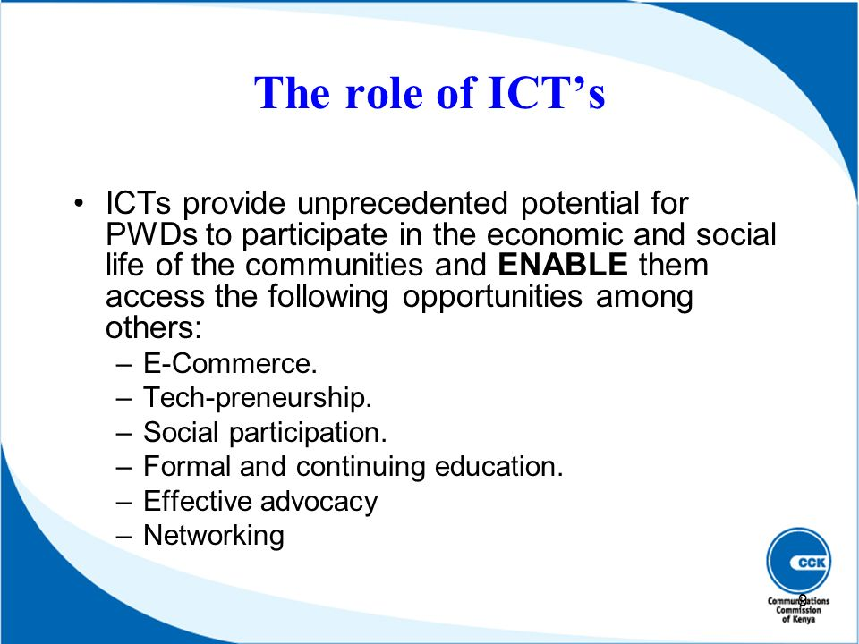 The role of ICT's