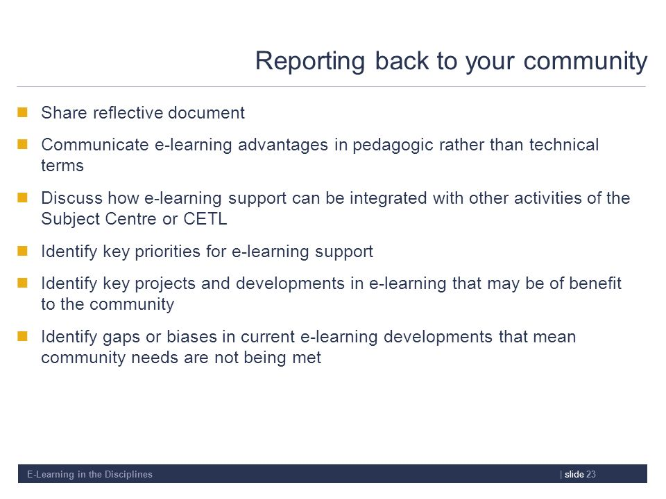 Reporting back to your community