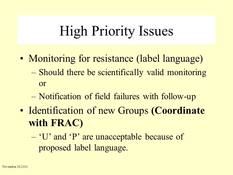 High Priority Issues Monitoring for resistance (label language)