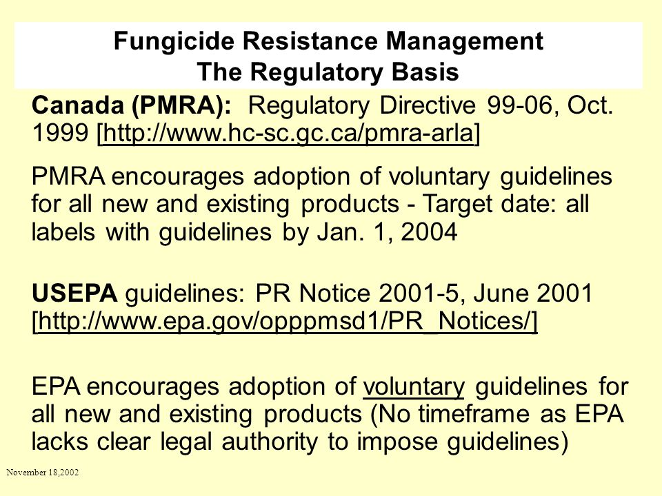Fungicide Resistance Management The Regulatory Basis