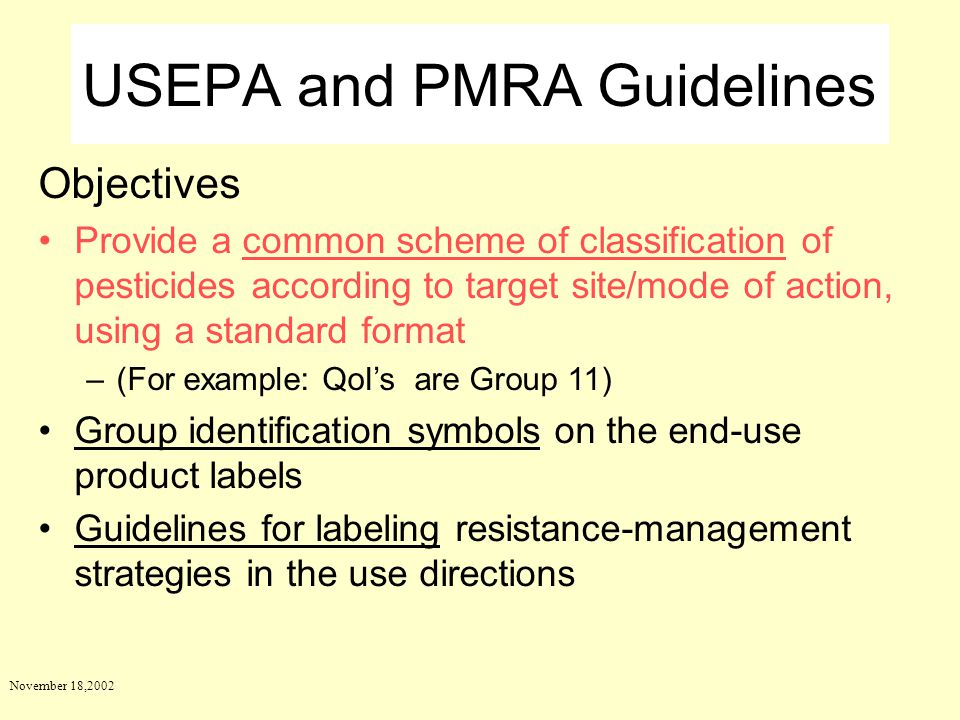 USEPA and PMRA Guidelines