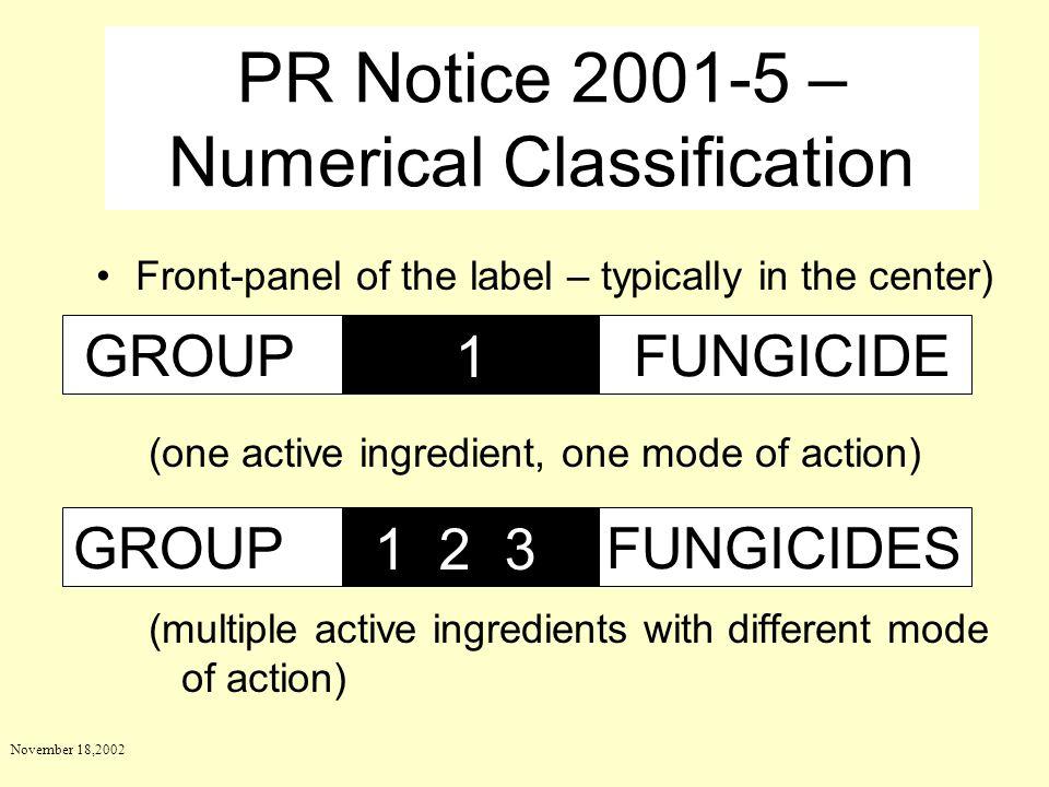 PR Notice 2001-5 – Numerical Classification